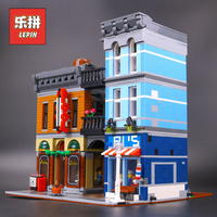 Новый Лепин 15011 город серии детектив офис комплект Совместимость 10246 модель здания комплект блоки кирпичи legoinglys детская игрушка