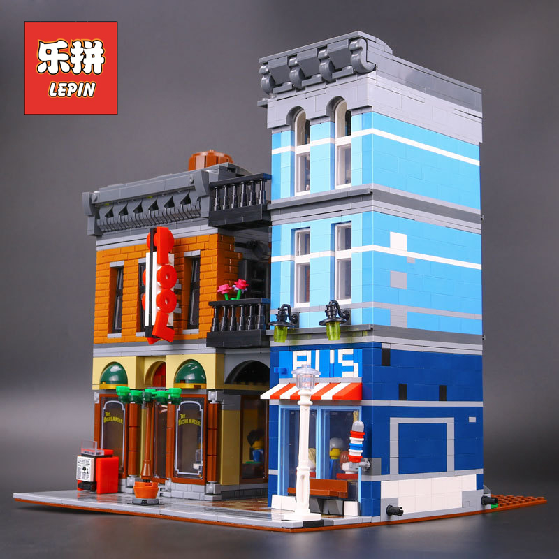 New Lepin 15011 City Series The Detective's Office Set Compatible 10246 Model Building Kit Blocks Bricks legoinglys Children Toy new lepin 16009 1151pcs queen anne s revenge pirates of the caribbean building blocks set compatible legoed with 4195 children