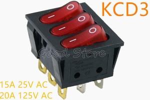 1pcs On-Off KCD3 9Pin Red 15A 250V 20A 125V AC Light Boat Car Rocker Switch KCD3-303 KCD3 Triple Light Switch Button(China)