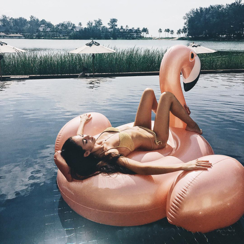 60 Inches Giant Inflatable Rose Gold Flamingo Swan Ride-on Summer Toys Swimming Pool Games Water Mattress Floats For Adult Pool