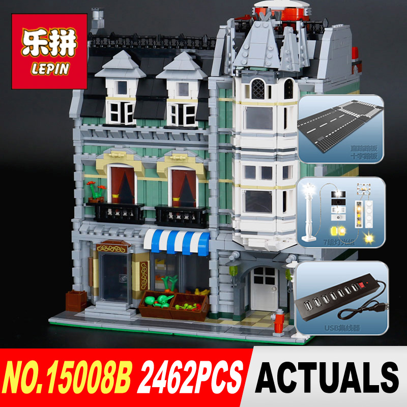New With light Lepin 15008B 2462Pcs City Street Green Grocer Model Building Kits Blocks Bricks Compatible Educational toys dhl lepin15008 2462pcs city street green grocer model building kits blocks bricks compatible educational toy 10185 children gift