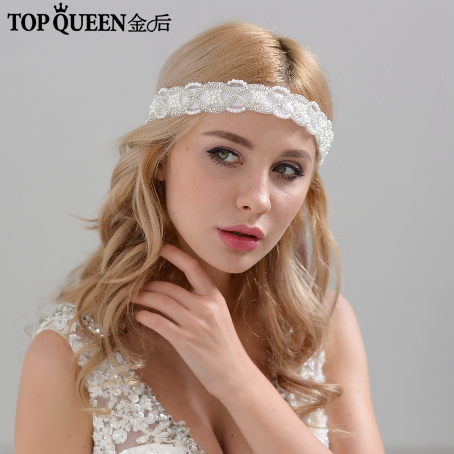 TOPQUEEN H221 Hot Sales Bridal Headband Wedding Hair Accessories Diamond And Beaded Lace Bridal Headpieces Fast Shipping Stock
