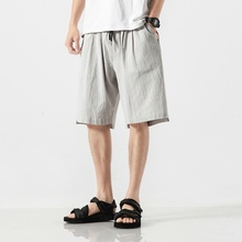 Cotton Linen Shorts Men 2019 New Summer Breathable Beach Mens Gray Joggers Casual Sweatshorts Plus Size 5XL