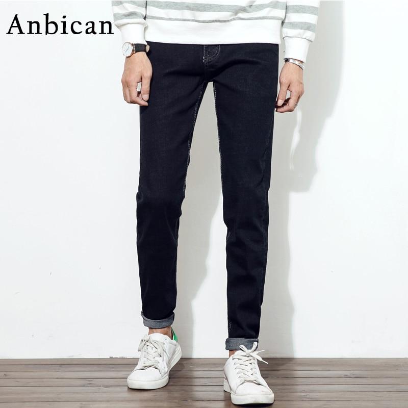 Anbican Brand New 2017 Fashion Stretch Skinny Jeans Men Black and Blue Long Men Jeans Slim Fit Cotton Denim Trousers km140