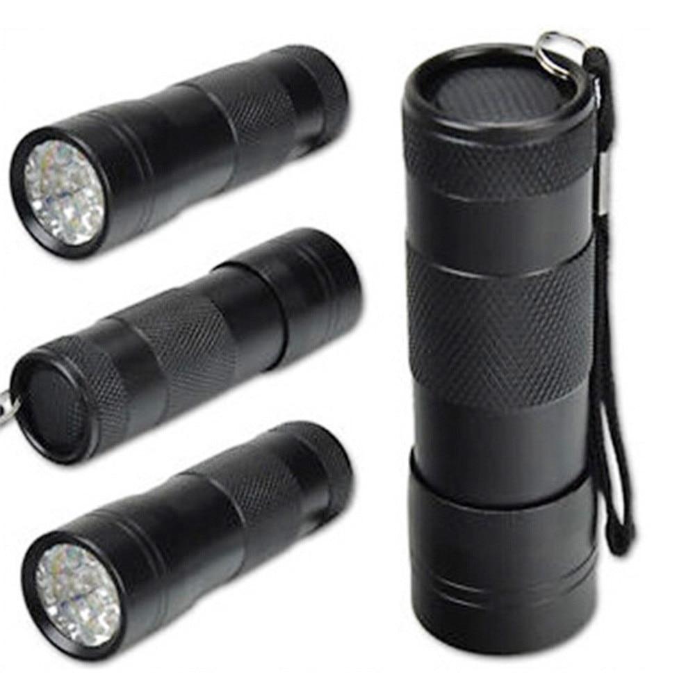 A1 UV Light Black Mini Aluminum UV ULTRA VIOLET Torch 12LED FLASHLIGHT BLACKLIGHT Light Lamp Wholesales&Retails