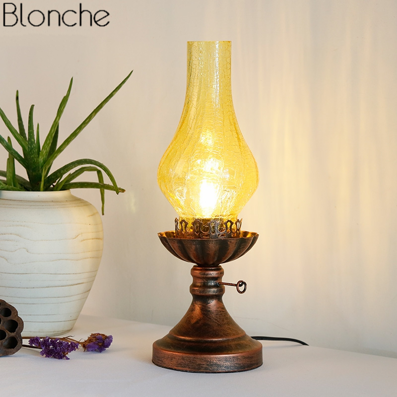 Lights & Lighting Led Table Lamps Vintage Kerosene Table Lamps For Living Room Bedroom Light Glass Lamp Shades Desk Lighting Fixtures Loft Industrial Home Decor To Prevent And Cure Diseases