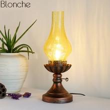 Lámparas de Mesa Vintage de queroseno para sala de estar, dormitorio, lámpara de cristal, tonos, accesorios de iluminación para escritorio, decoración Industrial para el hogar