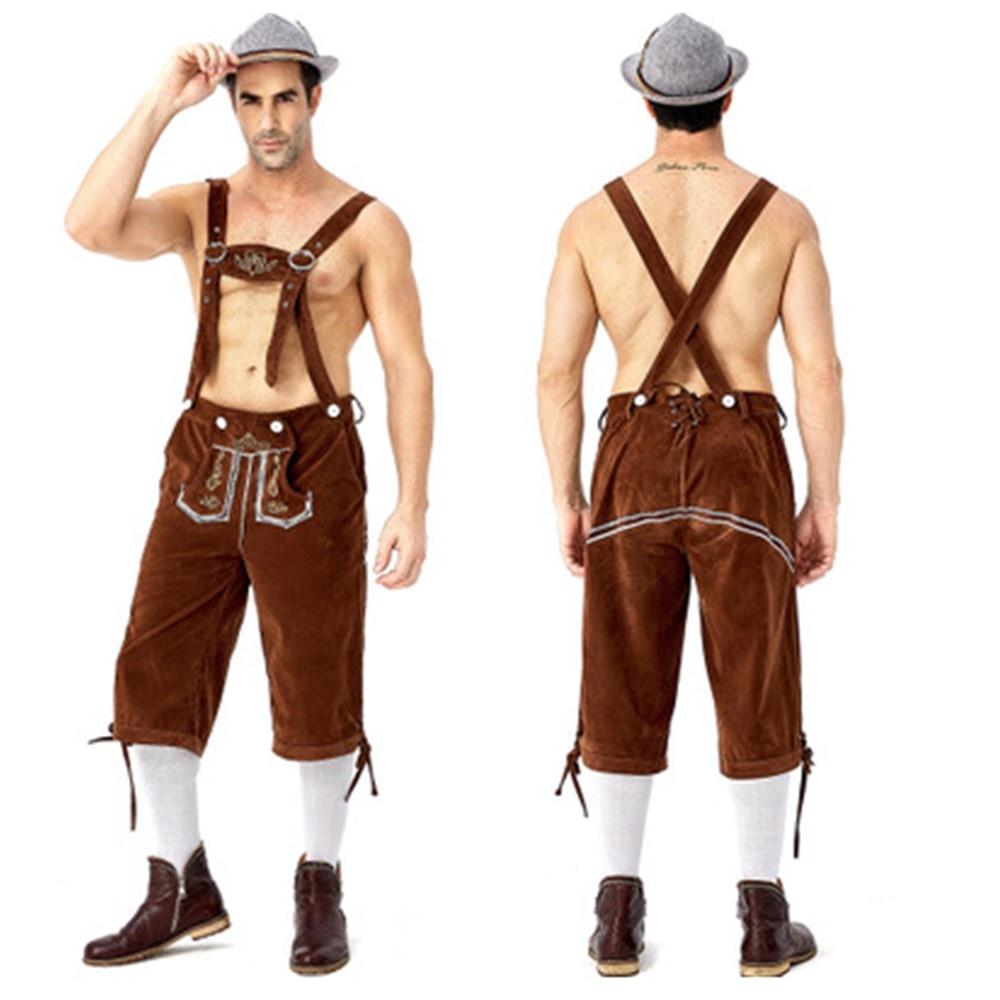 Bavarian Beer Man Blue /& Brown Lederhosen Oktoberfest Mens Fancy Dress Costume