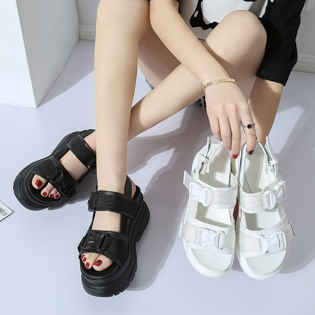 fa407e796727 Chowaring Korean Style Casual Fashion Wedges Platform Sandals Women Famous  Designer Women Sandals High Heel Concise White Black