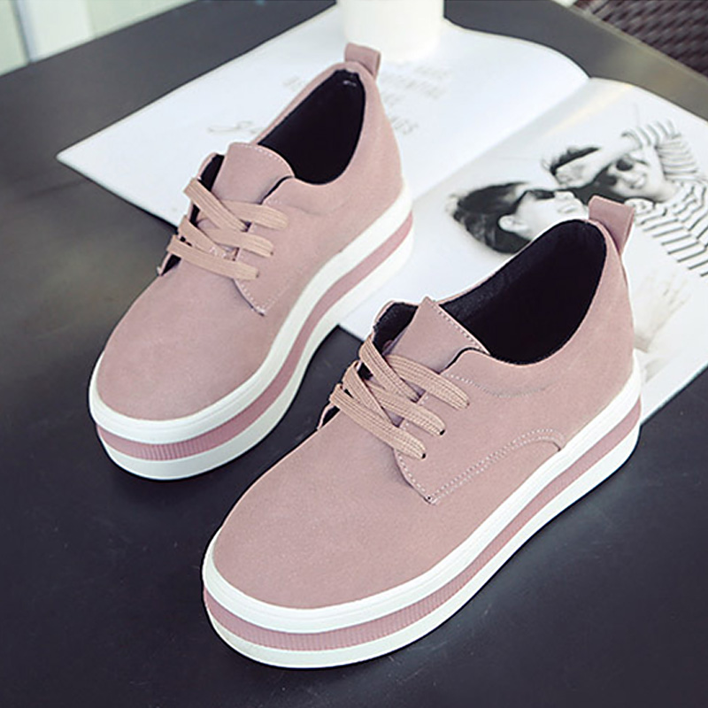 Rhinestone Women Round Toe Leather Lace Up Embroidery Sneakers Creeper Shoe