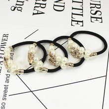 2017 Fasion Lady Girl Pearl Wire Flower Ponytail Holder Scrunchy Hair Rope Elastic Rubber Band Womens Headwear Hair Accessory(China)
