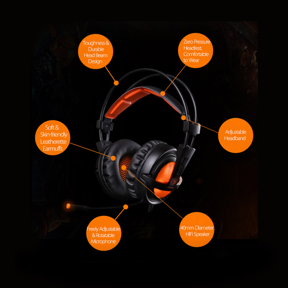 SADES A6 USB 7.1 Stereo wired gaming headphones game headset over ear with mic Voice control for laptop computer gamer 12