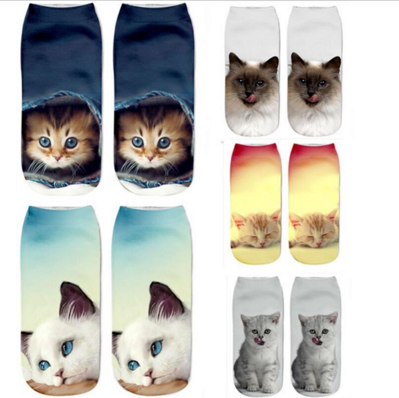 2018 New HOT 3D Printing Girls Socks Brand Sock Fashion Unisex Christmas Socks Cat Meias Female Funny Low Ankle Femme Sock