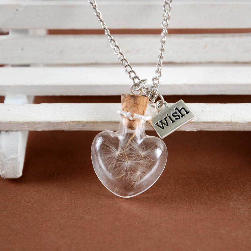 Charming Glass Bottle Necklace Shellhard Vinatge Dandelion Wish Glass Pendant Necklaces For Women Jewelry Accessories