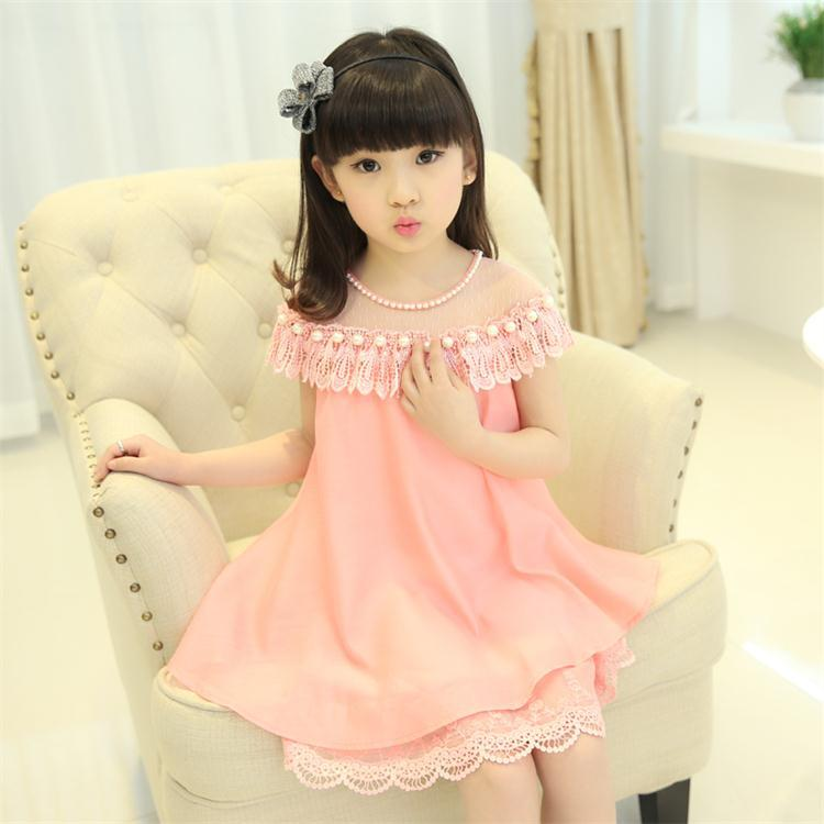 Girls Princess Dress Children Evening Clothing Kids Chiffon Quality Lace Dresses BabyGirl Party Prom Pearl Dress 2018 New Summer faux pearl beading open shoulder knot chiffon dress