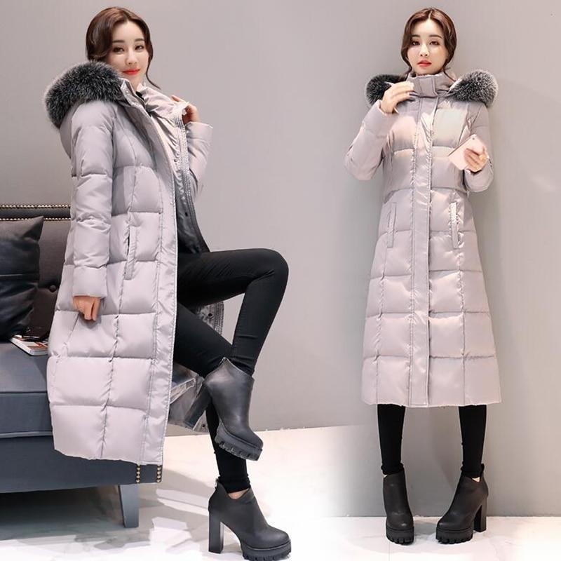 2018 New Arrival Female Warm   Down     Coat   Women Winter   Coat   Fur Collar White Duck   Down   Jackets Solid Hooded Long Outerwear 1618