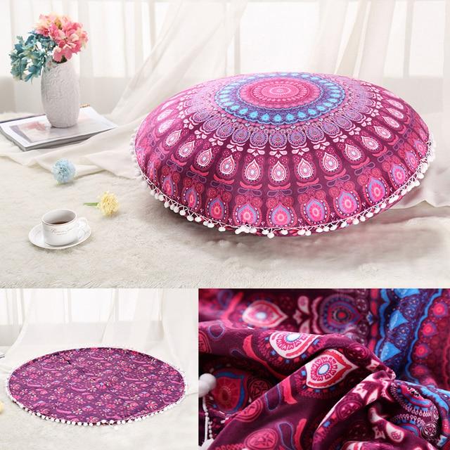 Enipate Retro Indian Mandala Floor Cushion Cover Round Bohemian ...