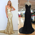 Sexy Prom Dresses with V Neckline Criss-Cross Backless Bling Bling Mermaid Prom Dress 2016 Gold Sequins Evening Dresses