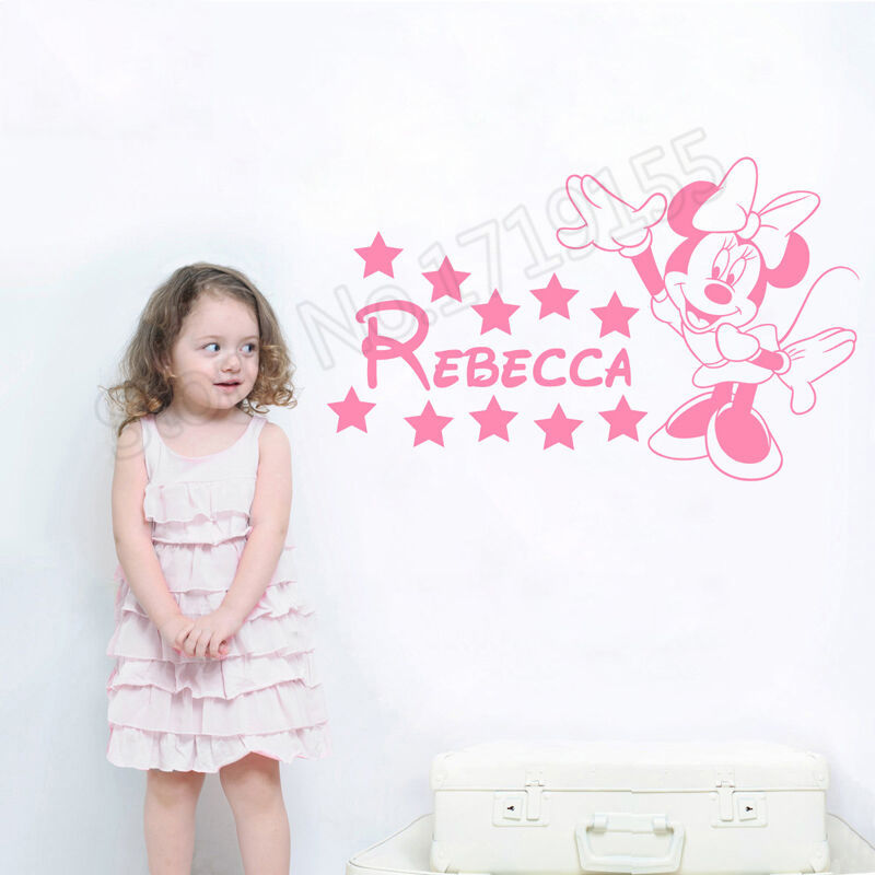 Minnie Wall Decal Personalized Name Cartoon Mouse Customized  Vinyl Sticker Animal Girls Nursery Decor ZW384