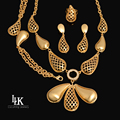2016 New Fashion Costume Jewelry Sets High Quality 24K Dubai Gold Plated Jewelry Sets Big Pendant For Women Party Vintage Style