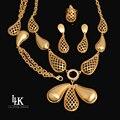 2016 Nova Moda Conjuntos de Jóias Traje de Alta Qualidade 24 K Dubai Banhado A ouro Conjuntos de Jóias Grande Pingente Para As Mulheres Do Partido Do Vintage estilo