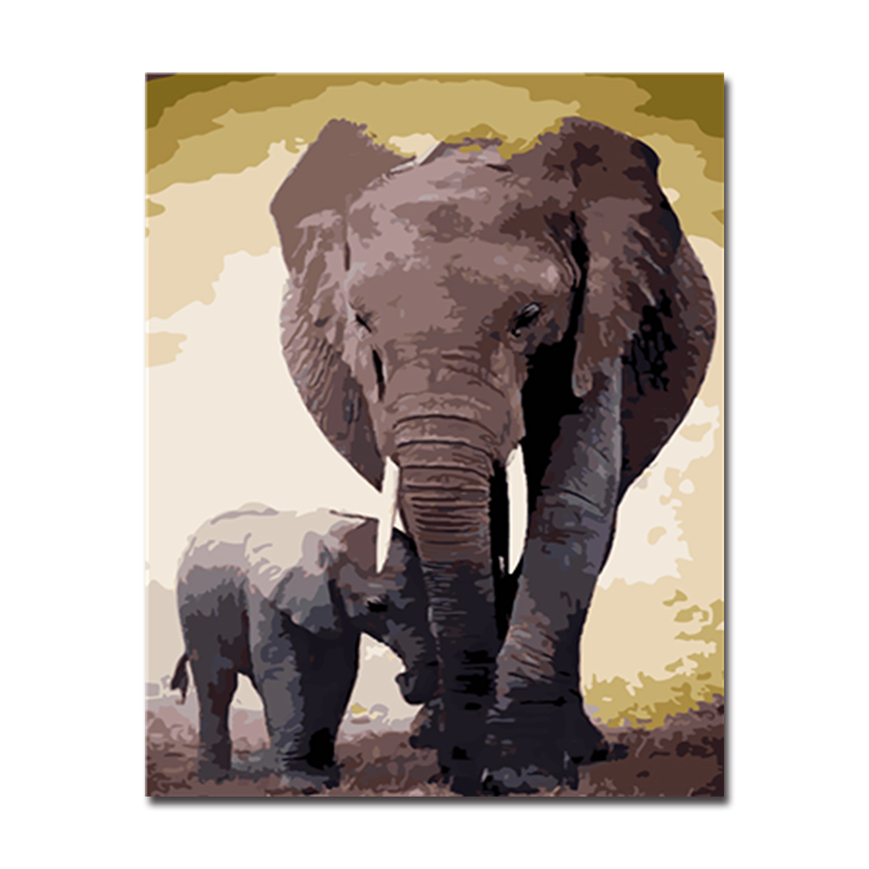 The Elephant Mom And Kid Animal Picture By Numbers DIY Painting Kits Hand painted On Linen Canvas Home Decorative Unique Gift