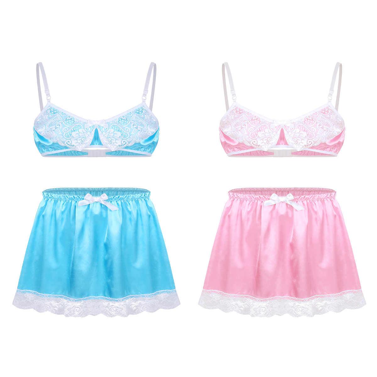 2Pcs Gay Mens Smooth Satin Lace Sissy Lingerie Set Exotische kleding Sexy Lingerie Femme Babydoll Kant Kostuums Beha Top met Rok