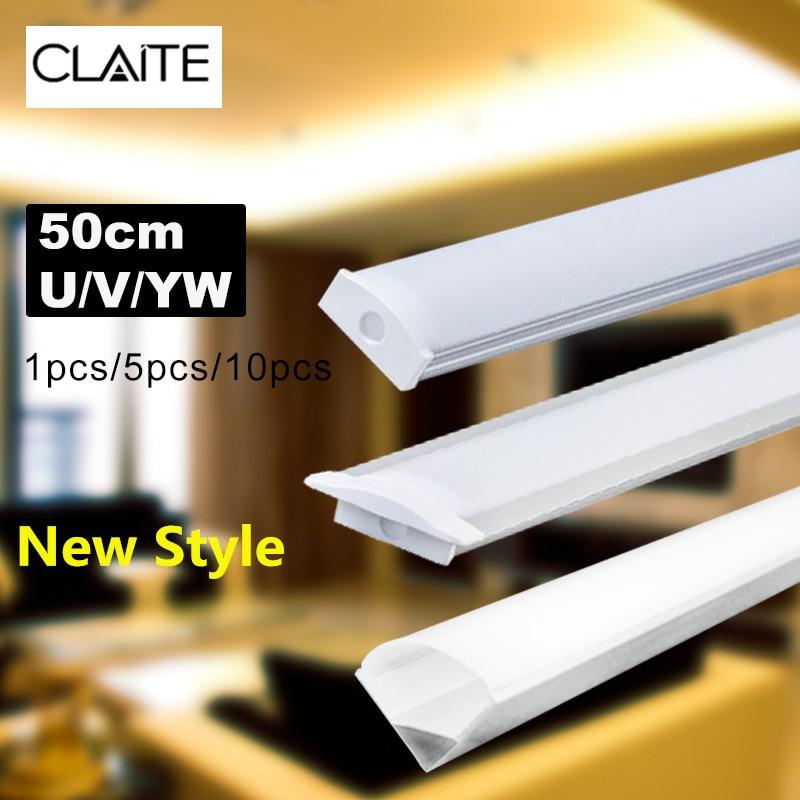 CLAITE New U/V/YW Three Style 50cm Aluminium Channel Holder For LED Strip Light Bar Under Cabinet Lamp Kitchen 1.8cm Wide