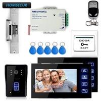 HOMSECUR 7 видео домофон дверной звонок охранных 1 Камера 2 Мониторы Ночное видение электрический замок Удар RFID Брелки