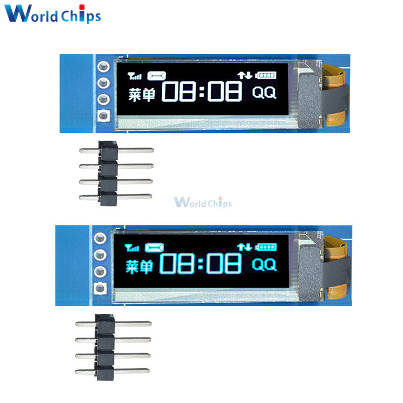 0.91 Inch 128x32 IIC I2C Serial Blue/White OLED LCD Display DIY Module SSD1306 Driver IC 0.91