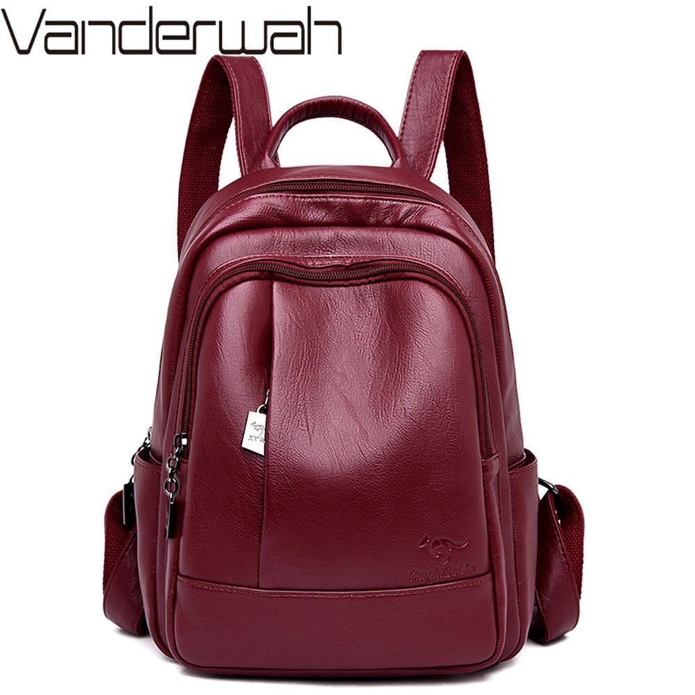 New Classic Women Backpack High Quality Leather Backpacks School Bags For Teenage Girls Bagpack Mochila Feminina Sac A Dos Femme