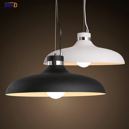 IWHD Lid LED Pendant Lights Modern Fashion White Black Iron Suspension Luminaire Kitchen HangLamp Home Lighting Fixtures modern fashion simple circular wooden handle aluminum lid chandelier made of iron painting diameter 50cm ac110 240v