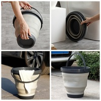 Foldable Pail Bucket Folding Bucket Car Wash Portable Collapsible Buckets Purpose Outdoor Thick Barrel Fishing Camping Hiking