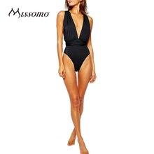 Missomo 2017 New Fashion Women Breathable Halter Sweet  Modern   Black Sexy Backless Convertible Deep V Soft Bodysuits
