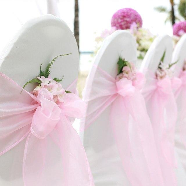5pcs Yarn Solid Color Ribbon Bows Chair Decor Organza Chair Ribbon Bows Mash for Party Banquet Wedding Decoration Streamers