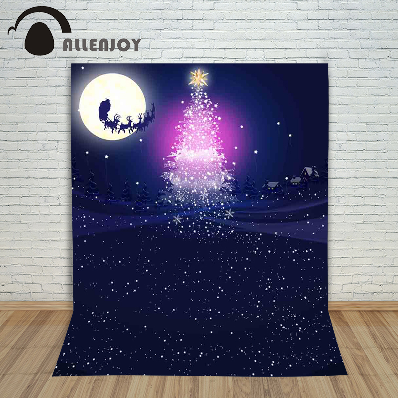 christmas at tiffany s Allenjoy Background for photos Reindeer Christmas tree with snowflakes at night children's photographic camera backdrop vinyl
