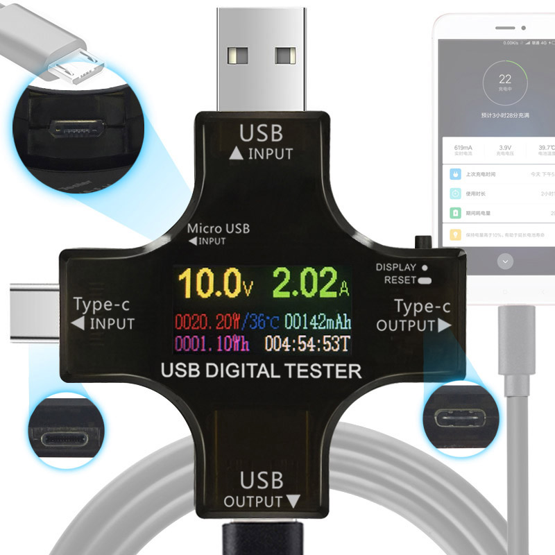 Farbe TFT USB tester Bluetooth Typ-C PD Digital voltmeter spannung strom meter amperemeter detektor power bank ladegerät anzeige