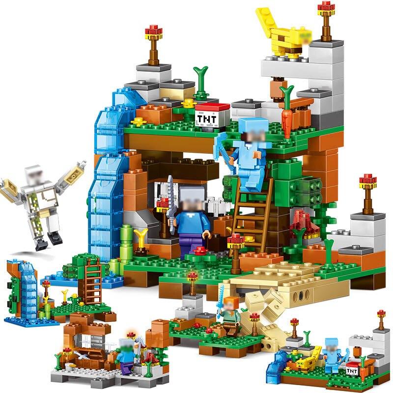 חדש הגעה 378 יחידות 4 ב 1 Minecrafted אבני בניין תואם Legoed עיר דמויות DIY ערכת אבני בניין צעצועי ילדים מתנה הטובה ביותר