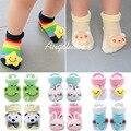 2015 Nuevos calcetines del bebé de los bebés niños tridimensional calcetines antideslizantes nueva nacido bebé infantil muñeca calcetines 5 par/lote para 0-8 meses