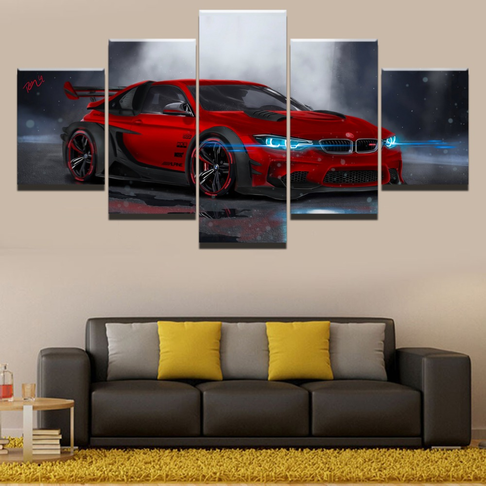 BMW M4 Red Sport Car Home Decor Picture Wall Art Canvas Painting HD Printed Paintings Canvas Wall Art Modern Decorative Artwork in Painting Calligraphy from Home Garden