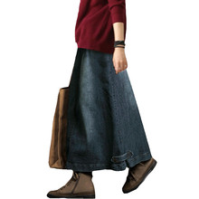 تنورة جينز كلاسيكية جديدة لعام 2019 للنساء ربيعي مقاس كبير تنورة طويلة طويلة جوبي بخصر عالٍ تنانير جينز للنساء Faldas Mujer C3936