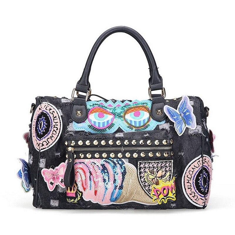 Caker Brand Casual Fashion Women Tote Butterfly Large Big Denim Bag Lady Handbag Jeans Tote Bag Vintage Women's Shoulder Bags
