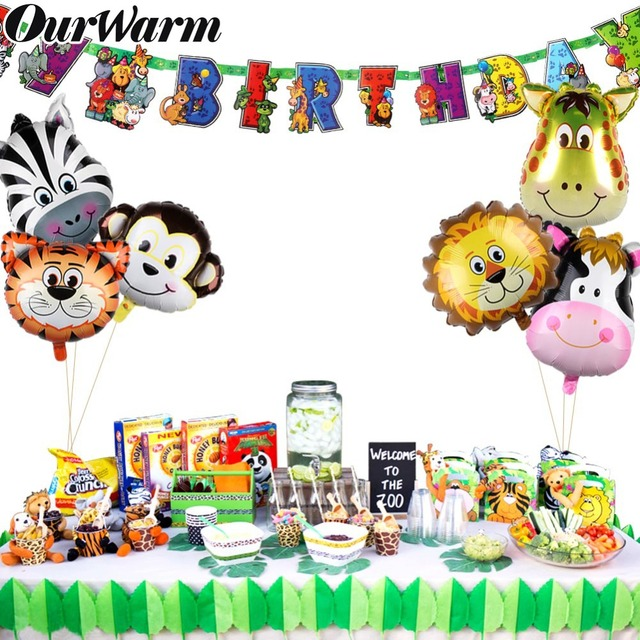 OurWarm 7pcs Jungle Party Animal Theme Birthday Safari Animals Balloons and Paper Banner for Kids Birthday Party DIY Decorations