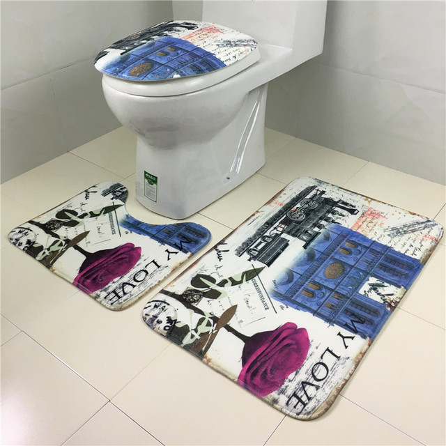 High Quality 3pcs/Lot Bathroom Rugs Anti Slip Carpet Blankets Home Hotel  Decorative Toilet