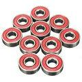 10 pçs/lote 608 2RS Rolamento de Roda de Rolo Inline Skate Blacken 2.1x2.1x0.7 cm Rolamento De Roda Skate Vermelho selado ABEC-5