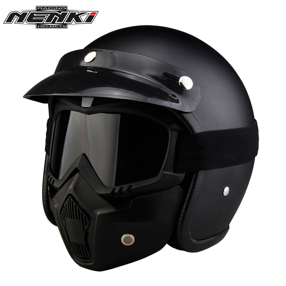 все цены на NENKI Retro Vintage German Style Motorcycle Helmet 3/4 Open Face Helmet Scooter Chopper Cruiser Moto Helmet DOT Glasses Mask онлайн