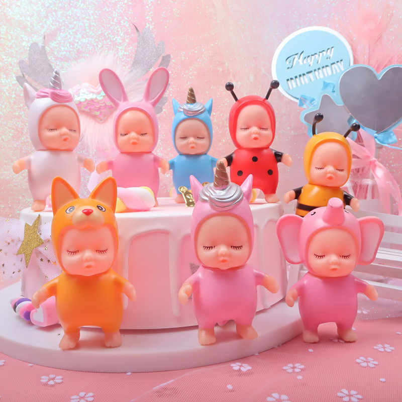 Sleeping Baby Doll Cake Decoration Birthday Toppers Toys Shower Girl Boy 1st First