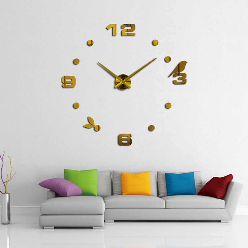 Real diy acrylic mirror wall clock 3d big quartz watch modern still life clocks Bird pattern stickers living room home decor