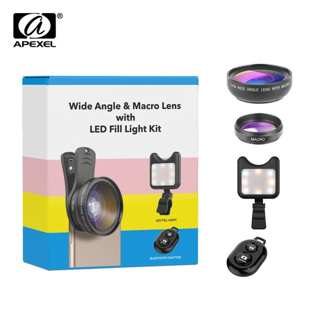 APEXEL Phone Camera Lens kit 0.45x Wide Angle Macro Lens+ rechargeable Led selfie Fill light for Samsung Xiaomi more cellphones