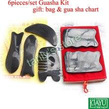 6pcs/set Traditional Acupuncture Massage tool Guasha beauty plate 100% ox Horn gift bag & gua sha chart